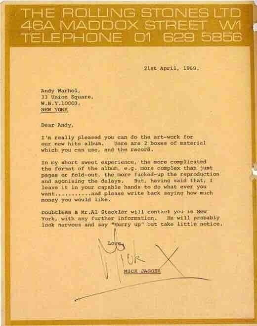 Example of a design brief sent from Mick Jagger to Andy Warhol in 1969