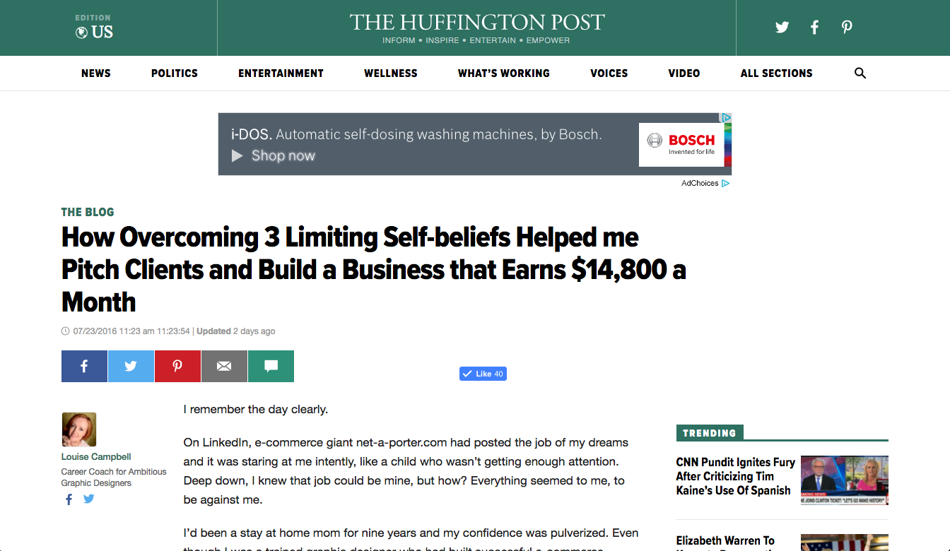 How Overcoming 3 Limiting Self-beliefs Helped me Pitch Clients and Build a Business that Earns $14,800 a Month